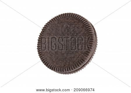 Cookies and cream close-up shot of crust side (no trademark or brand) isolated on white background (Clipping path included) for graphic use