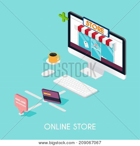 Flat 3d web isometric e-commerce electronic business payment delivery shipping process sales black friday infographic concept vector. tablet buy button.