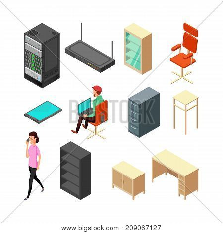 Set of office isometric icons. Server, armchair, table, cupboard and staff. Flat vector illustration. Office armchair and chair, table and router poster