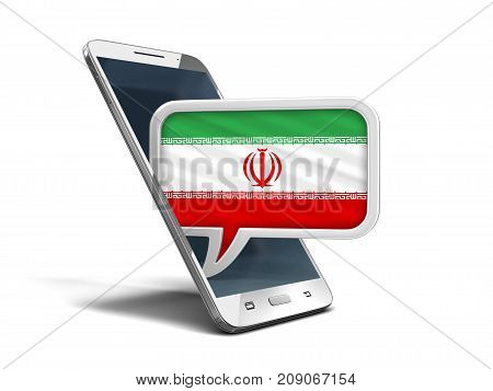 3d Illustration. Touchscreen smartphone and Speech bubble with Iranian flag. Image with clipping path