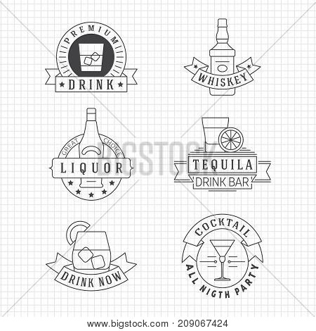 Alcohol drinks thin line emblems on notebook page. Alcohol label and emblem linear whiskey and tequila. Vector illustration