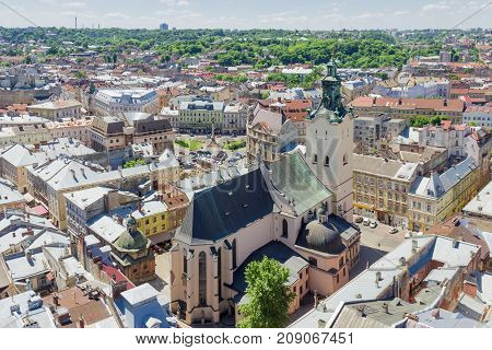 View from tower of city town hall of the Latin Cathedral built in the 14th-century in Lviv Ukraine
