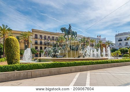 JEREZ DE LA FRONTERA,SPAIN - SEPTEMBER 30,2017 - At the Arenal place in Jerez de la Frontera. Jerez is known as the city of flamenco sherry horses and motorcycles.