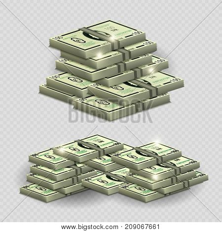 Much money with shining elements - realistic money on transarent background. Money cash stack banknote, vector profit finance illustration