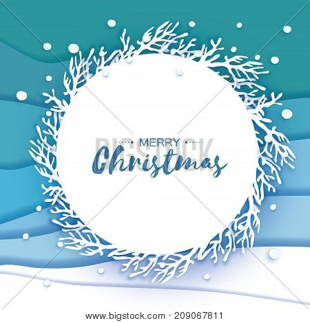 Origami Merry Christmas Greetings card. Paper cut snow flake. Happy New Year. Winter snowflakes background. Circle frame with branch. Space for text. Blue mountains. Landscape. Vector illustration.