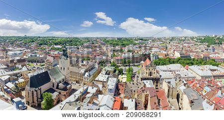 Panorama of the western part of Old Town view from the tower of city town hall in Lviv Ukraine