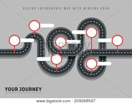 Navigation winding road vector way map infographic on grey background. Road street winding infographic, vector illustration