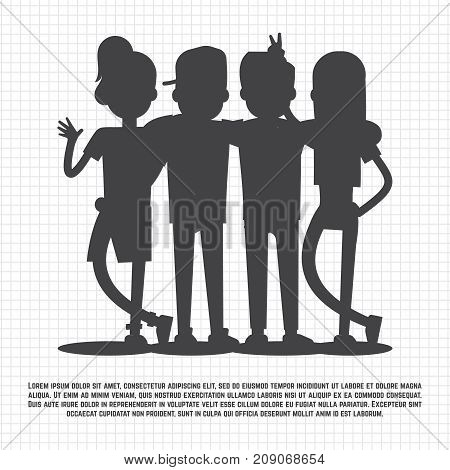 Teenagers friends silhouettes on notebook page - friendship concept. Friendship teenager young and happy, vector illustration