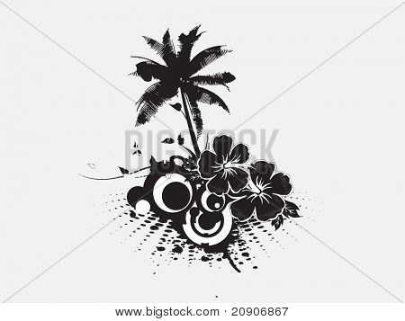 vector palm trees with hibiscus flowers and grunge background
