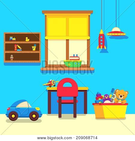 Baby room interior with window, work place and toys collection. Interior baby room with furniture and toys, vector illustration