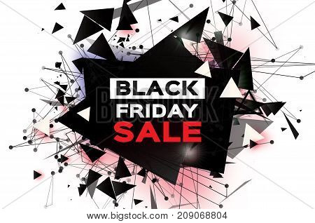 Black Friday Sale. Realistic fiery explosion. Big Sale. Discount. Trendy Geometric elemets and frame in paper cut style. For brochure, flyer. Simple geometry. White background. Vector illustration.