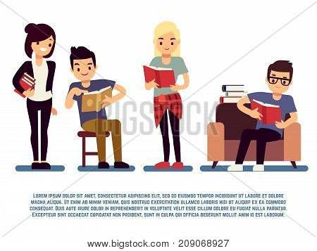 Teenagers and students with books isolated on white - young people reading concept. Student education school, vector illustration