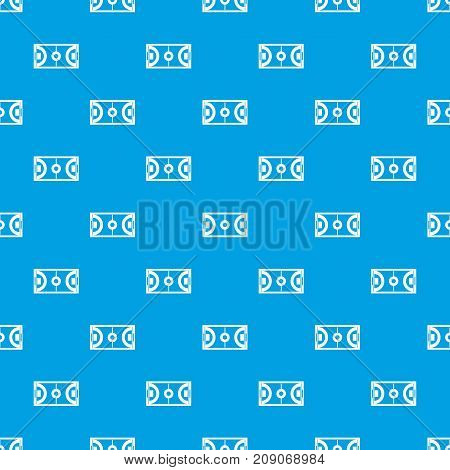 Futbal or indoor soccer field pattern repeat seamless in blue color for any design. Vector geometric illustration
