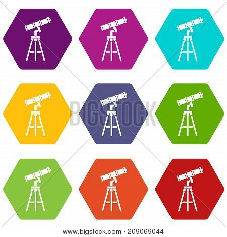 Telescope icon set many color hexahedron isolated on white vector illustration