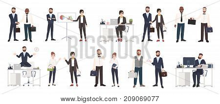 Big collection of business people or office workers dressed in smart clothing in different situations - making deal, conducting negotiation, working. Colorful cartoon characters. Vector illustration