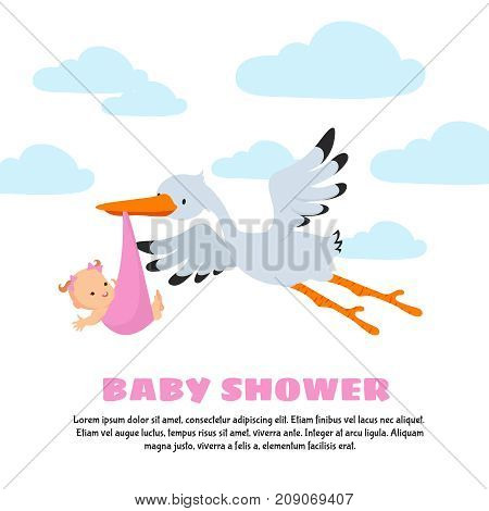 Baby shower vector background with stork carrying infant. Stork and baby, newborn infant illustration