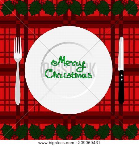 Christmas dinner. Dinner time. Cutlery. Flat design Vector illustration