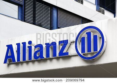 Geneva, Switzerland - October 1, 2017: Allianz office building in Geneva. Allianz is a European financial services company headquartered in Munich, Germany
