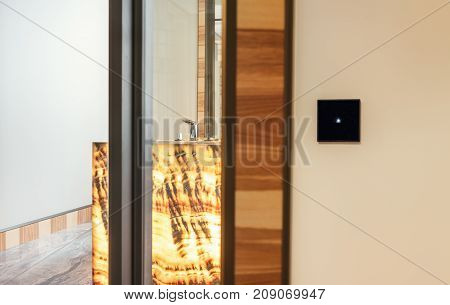 touch switch to the beautiful interior, built-in wooden wall
