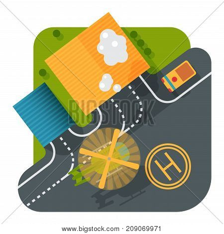 Helicopter pad landing ground landing area platform vector top view illustration. Helicopters landing pad aviation city platform. Takeoff vehicle tourism heliport sign.