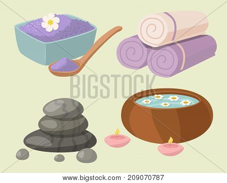 Vector illustrations of spa treatment beauty procedures wellness icons. Herbal cosmetics aroma stones towels and lotus flower. Relaxation health herbal elements.