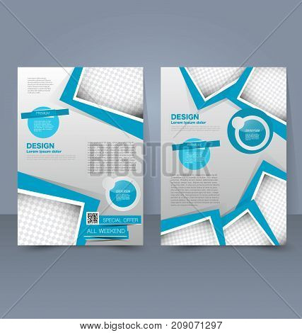 Flyer template. Business brochure. Editable A4 poster for design education, presentation, website, magazine cover. Blue color.