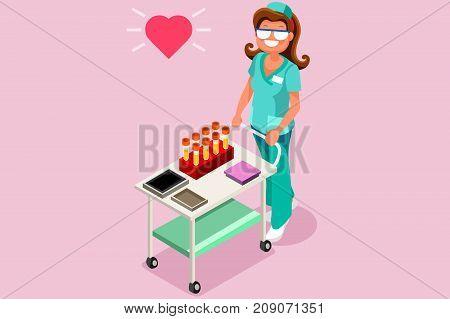 Medical lab worker 3D flat isometric people vector laboratory illustration