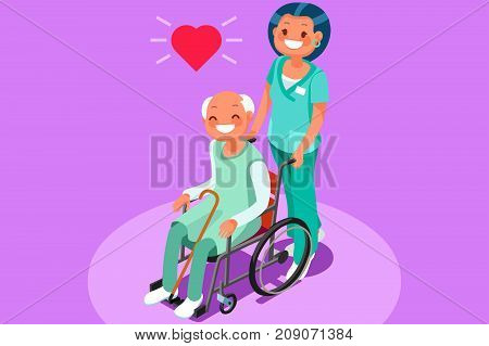 Happy elderly patient in wheelchair at retirement community 3D flat isometric people vector medical illustration