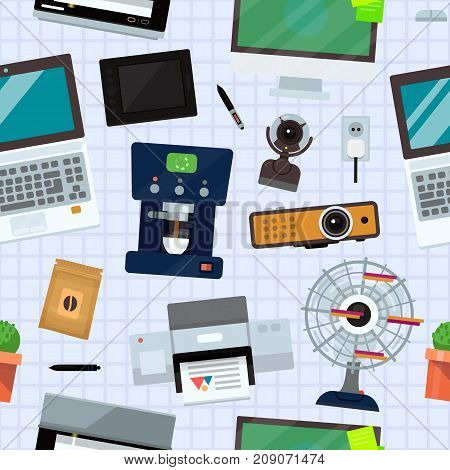 Computer office equipment technic gadgets modern workplace communication device laptop monitor printer keyboard camera vector illustration. Office electronics vector seamless pattern background .