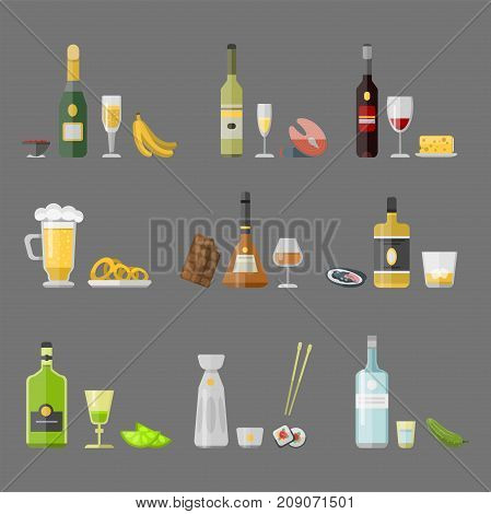 Alcohol drinks beverages cocktail appetizer bottle lager refreshment container and menu snacks drunk concept different glasses vector illustration. Restaurant tequila rum party pub cognac.