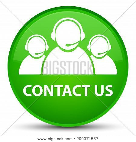 Contact Us (customer Care Team Icon) Special Green Round Button