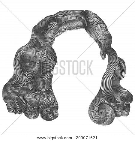 trendy woman short hairs gray colors .fringe. fashion beauty retro style . realistic 3d .