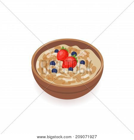 Bowl of delicious oat porridge decorated with fresh strawberries and blueberries isolated on white background. Tasty homemade cereal dish, healthy breakfast meal, morning food. Vector illustration
