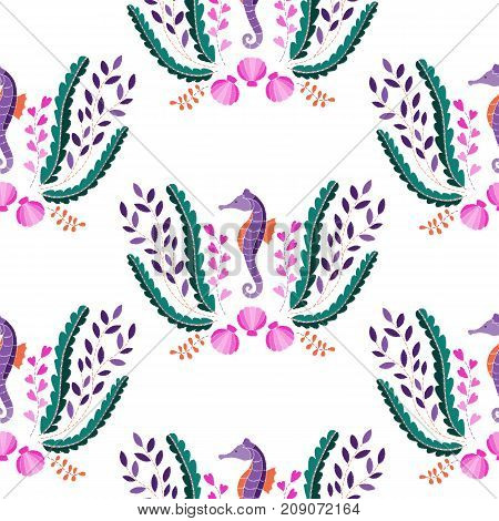 Seahorse, seaweed and shell embroidery seamless pattern on white background. Fashion wallpaper, textile print.