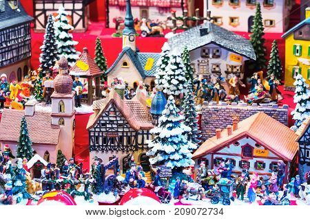 European Christmas market fair stall with different gifts