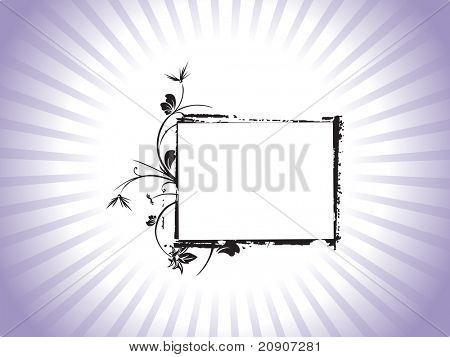 beautiful abstract frame with floral elements on purple background, vector illustration
