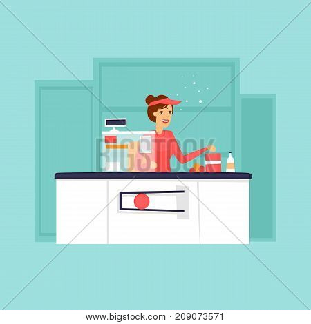 Cash desk store with the seller, supermarket, hypermarket. Flat design vector illustration.