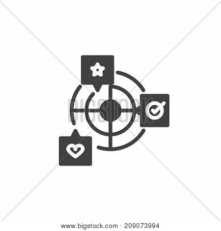 Goals with star, heart and checklist icon vector, filled flat sign, solid pictogram isolated on white. Achievement symbol, logo illustration.