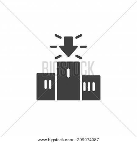Podium and arrow icon vector, filled flat sign, solid pictogram isolated on white. Achievement symbol, logo illustration.