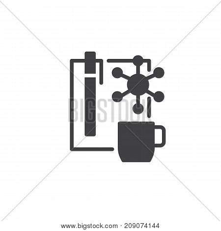 Planning list and cup of coffee icon vector, filled flat sign, solid pictogram isolated on white. Symbol, logo illustration.