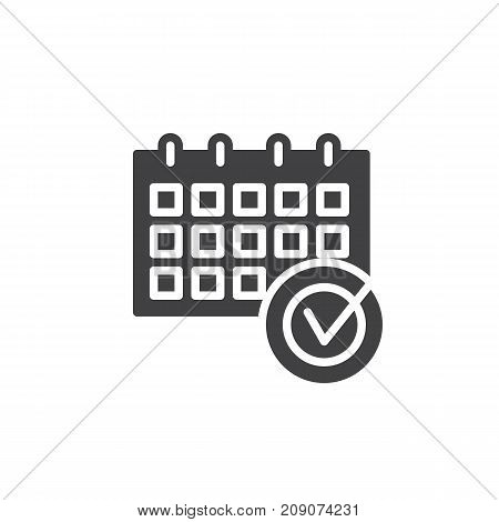 Calendar check mark icon vector, filled flat sign, solid pictogram isolated on white. Date, event symbol, logo illustration.