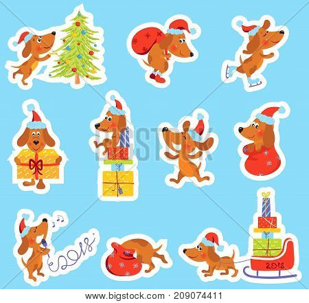 Set of Christmas or New Year stickers with cute puppy, Dog is the symbol of 2018 year in Santa hat, Vector clip-art