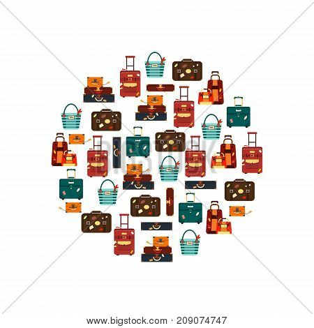 Travel bags in circle isolated on white background vector illustration. Collection business voyage packing, handle trip baggage. Summer time. Handbag and luggage for adventure.