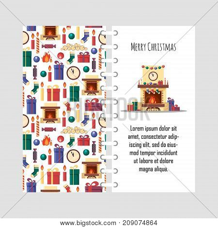 Vector template christmas card with festive elements. Gifts, clock, candle, fireplace, socks, wood, candy. Colorful christmassy objects for congratulation in flat style - stock vector illustration.