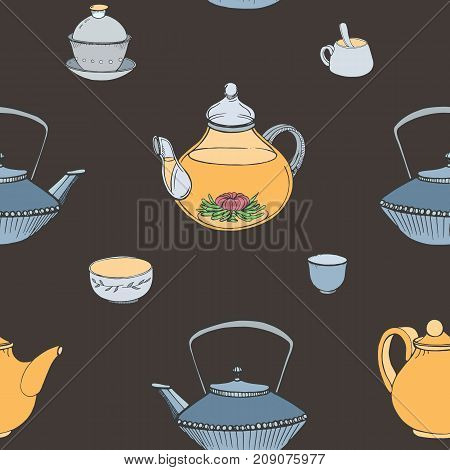 Elegant seamless pattern with hand drawn traditional Japanese tea ceremony attributes - cast-iron kettle Tetsubin, teapot, cups or bowls. Colorful vector illustration on dark background.
