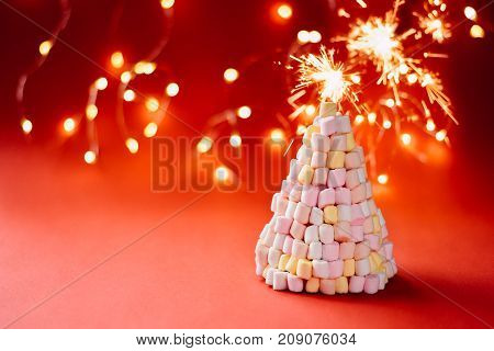 Marshmallow Christmas Tree On Red Background