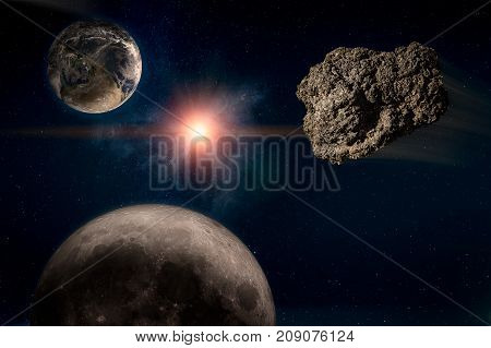 Meteor running in the starry sky toward the planet Earth before an imminent catastrophe. Elements of this image furnished by NASA