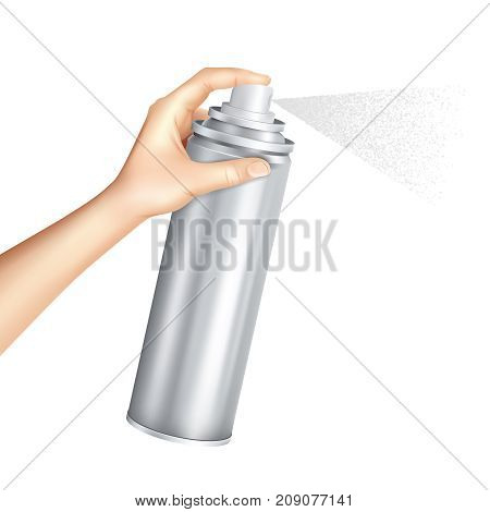 Hand holding and pressing down nozzle of aluminium aerosol can spraying liquid particles mist realistic vector illustration