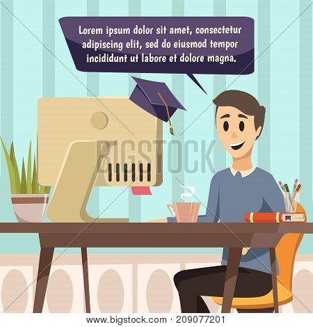 Online education orthogonal composition in comic book style with cartoon character near monitor covered  with magistracy hat and speech bubble flat vector illustration