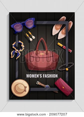 Colored women accessories poster with women s fashion headlines and hat handbag shoes cosmetics vector illustration